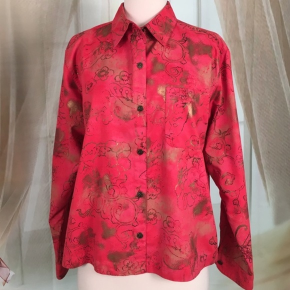 Chico's Tops - Chico's Red Long Sleeved Blouse